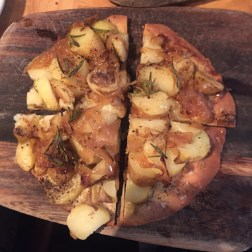 Warm Potato, Caramelised Onion, Rosemary and Salt Coca