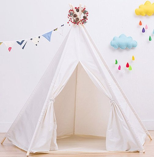 Large Cotton Canvas White Teepee Tent for Kids Teepee Tent Indoor Outdoor