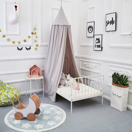 ONMIER Mosquito Net Canopy, Cotton Canvas Dome Princess Bed Canopy Kids Play Tent