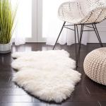Safavieh Sheepskin Collection SHS121A Genuine Sheepskin Pelt White Premium Shag Rug2' x 3'
