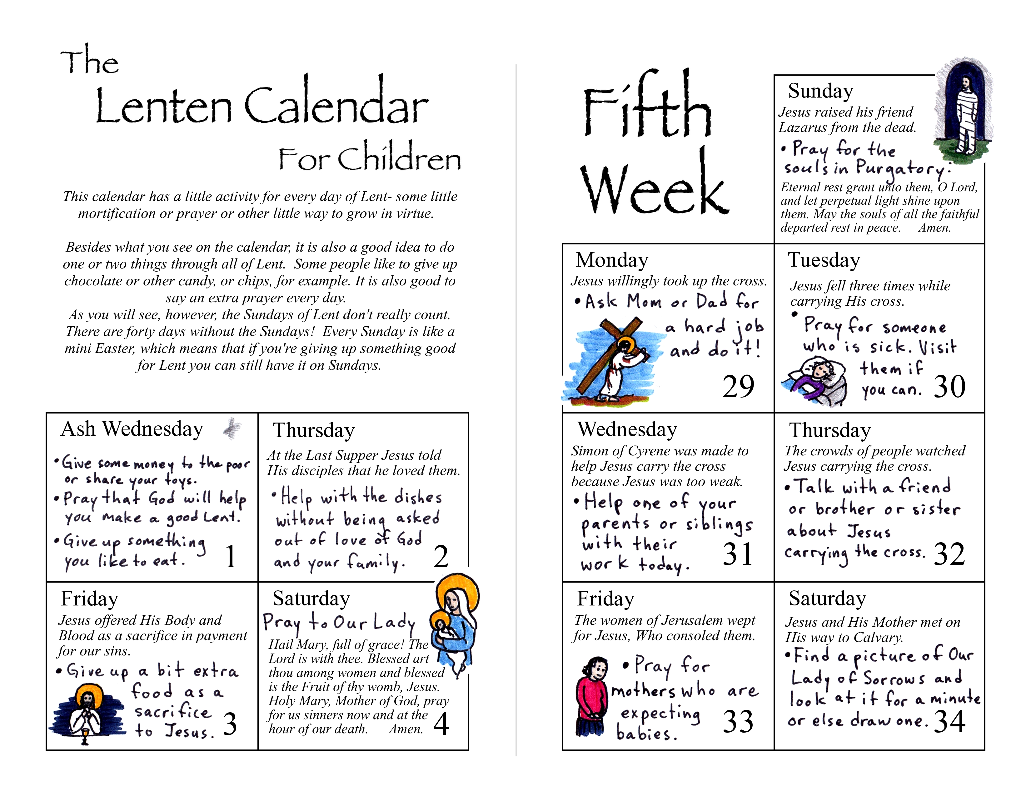 Lenten Calendar For Children