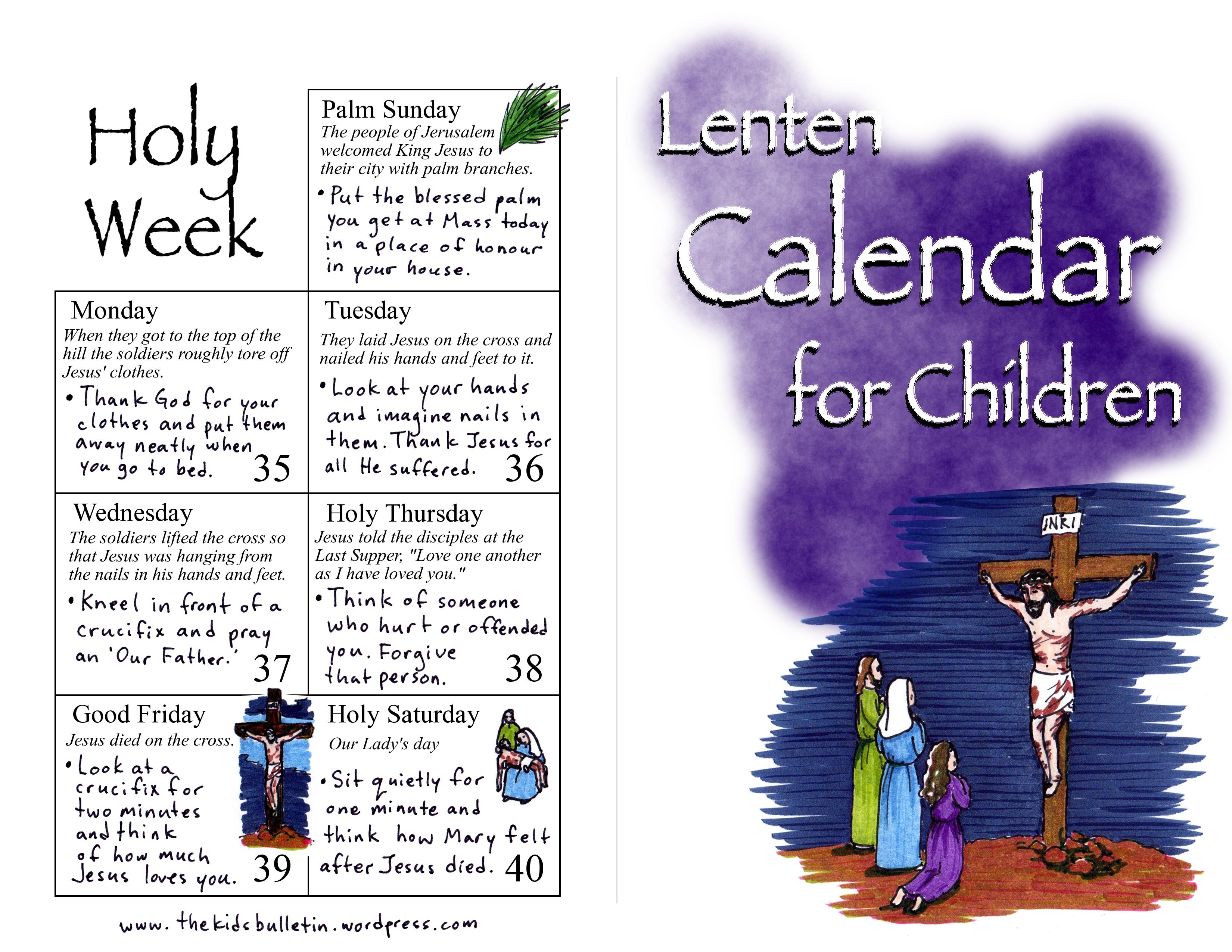 Lenten Calendar For Children