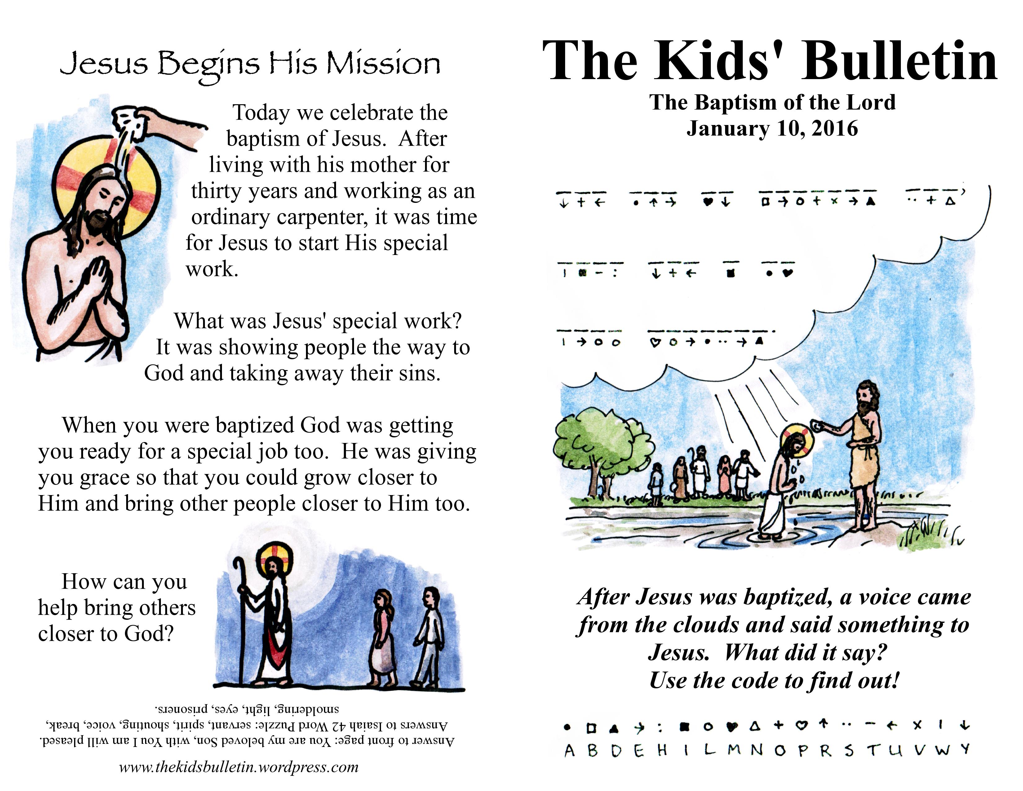 The Kids Bulletin For Sunday January 10 Baptism Of