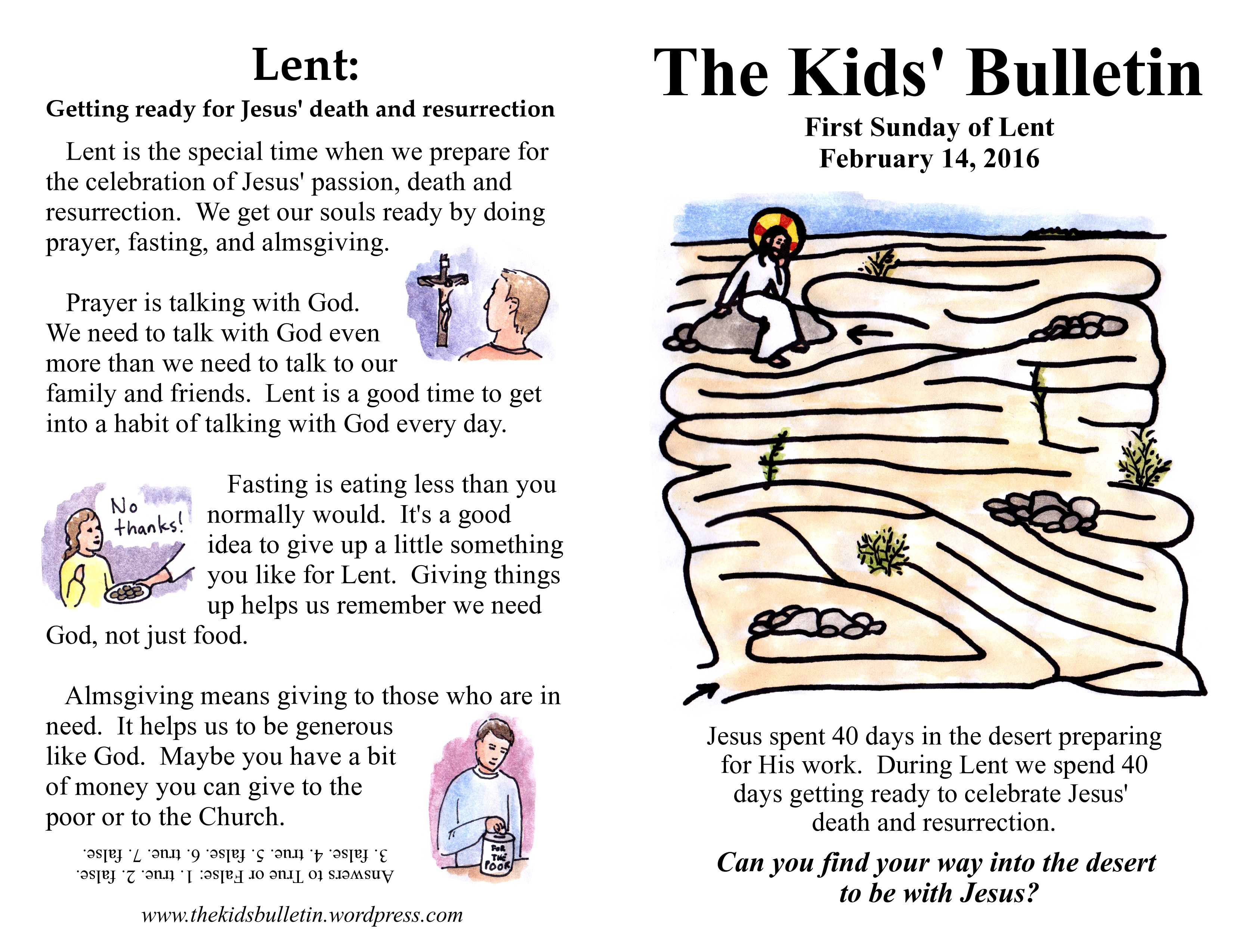 The Kids Bulletin 1st Sunday Of Lent