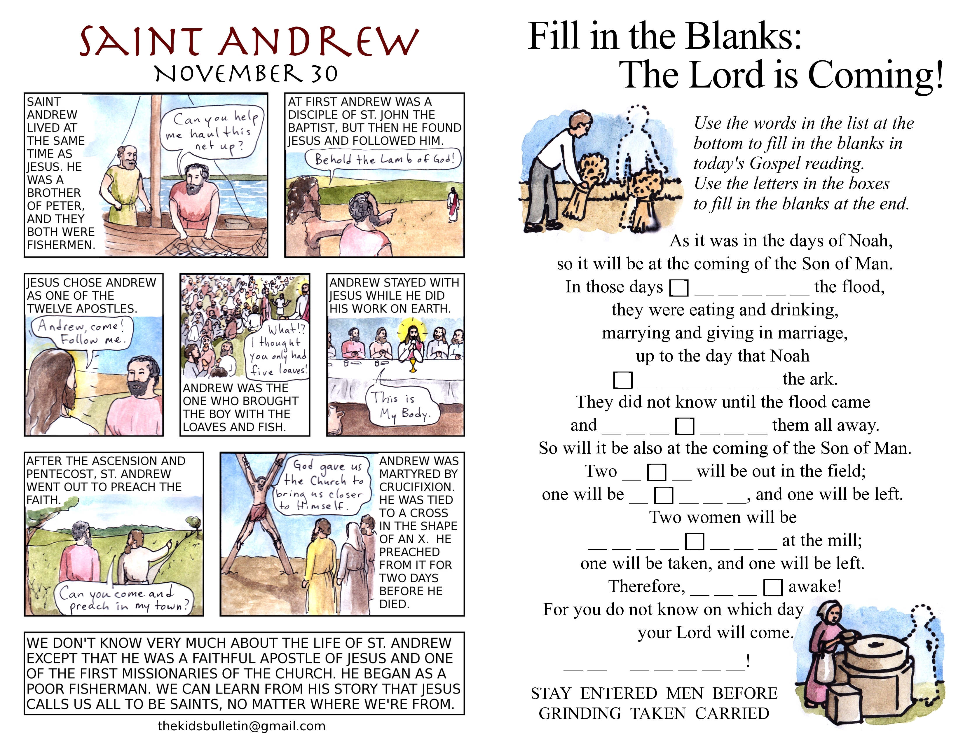 The Kids Bulletin For Sunday November 27th First Sunday Of Advent