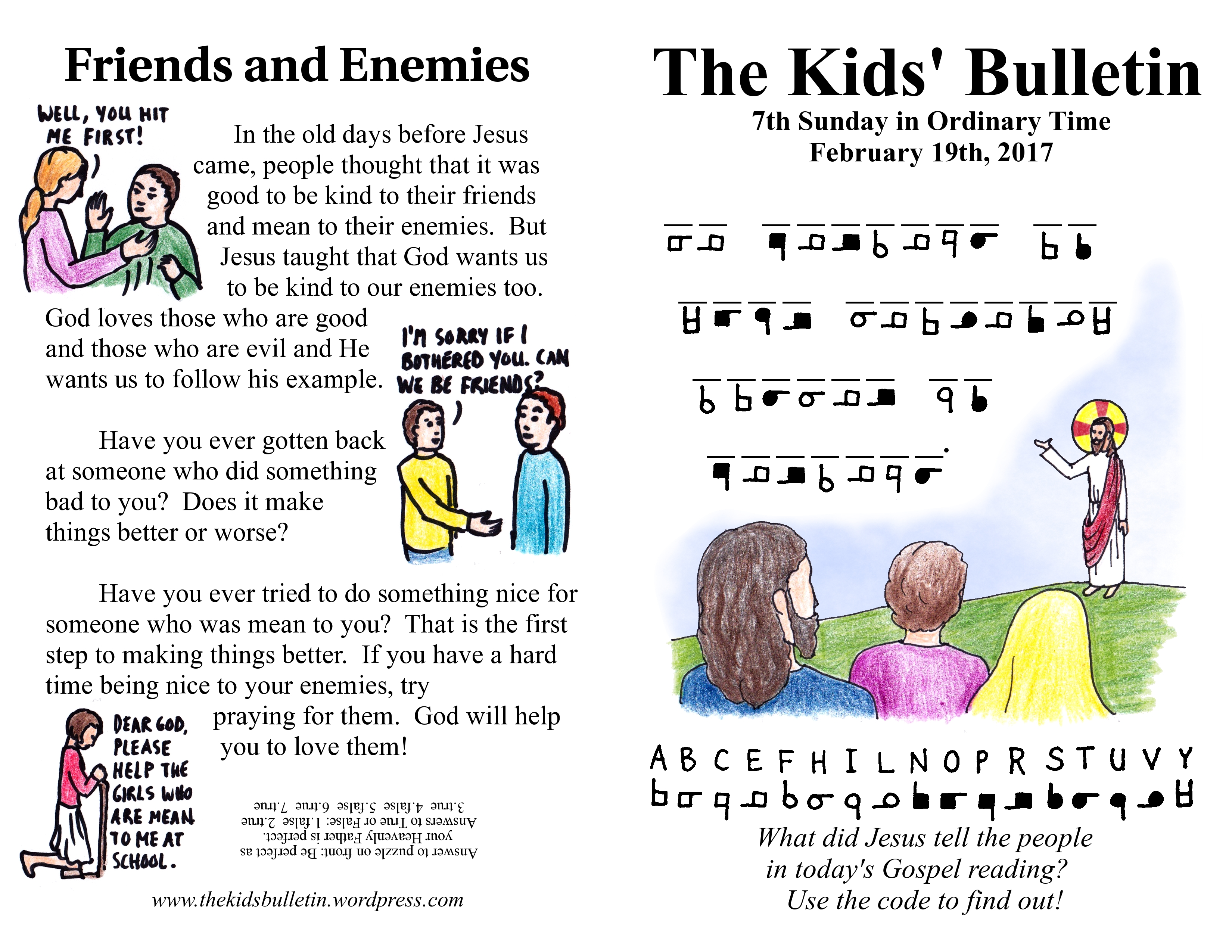 The Kids Bulletin For Sunday February 19th