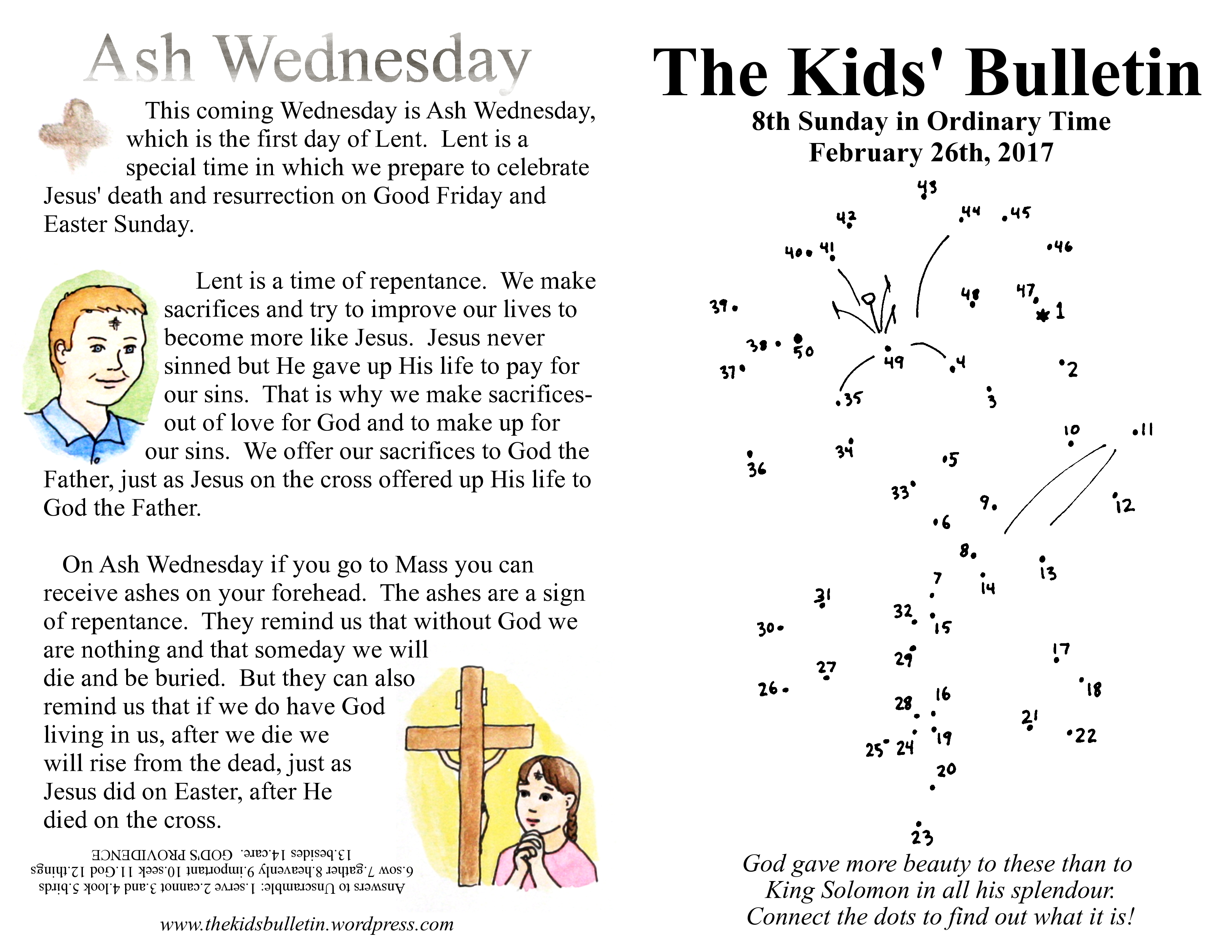 The Kids Bulletin For Sunday February 26th And Ash