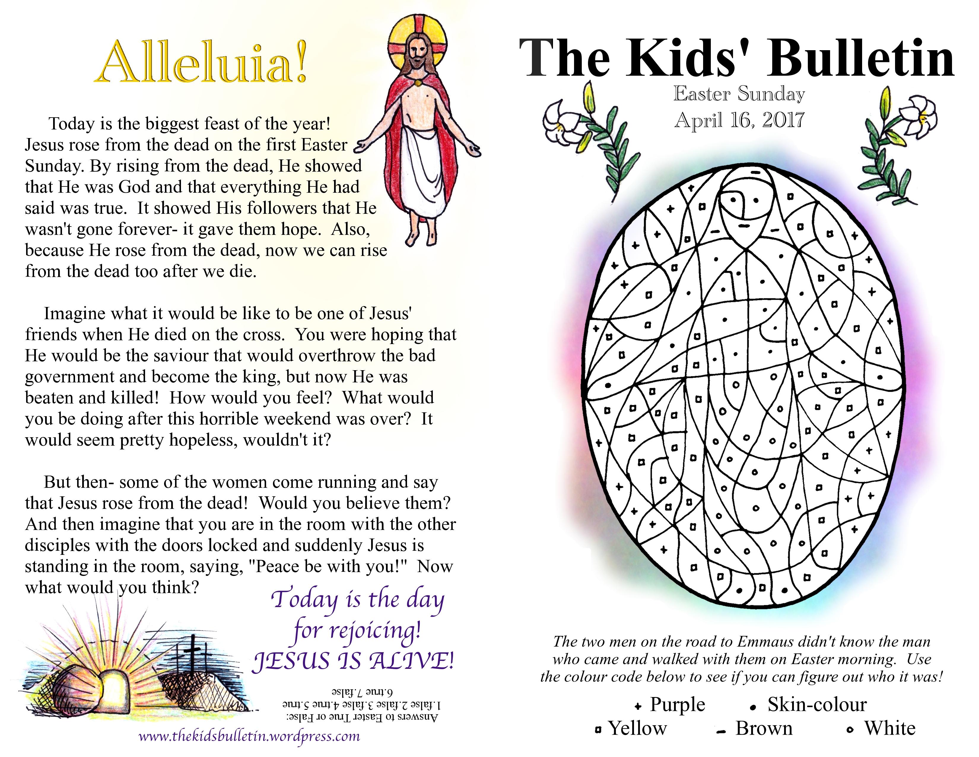 The Kids Bulletin Easter Sunday
