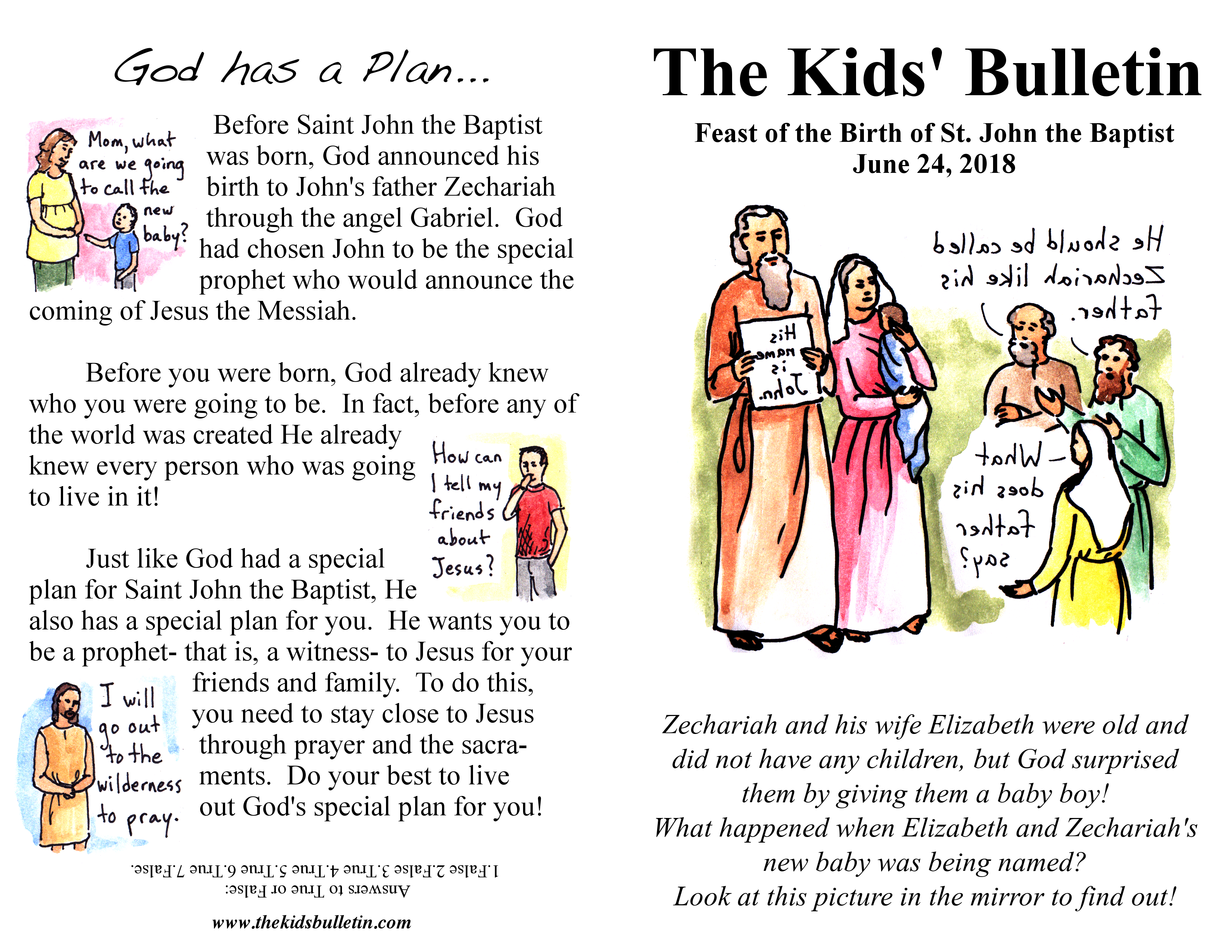 The Kids Bulletin For Sunday June 24th Birth Of St