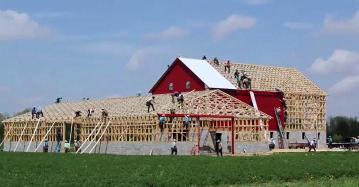 amish barn raising building