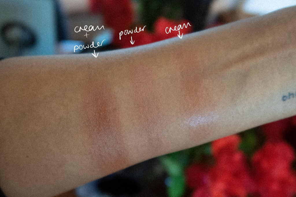 Patrick Ta She's so LA swatched on medium-dark skin.