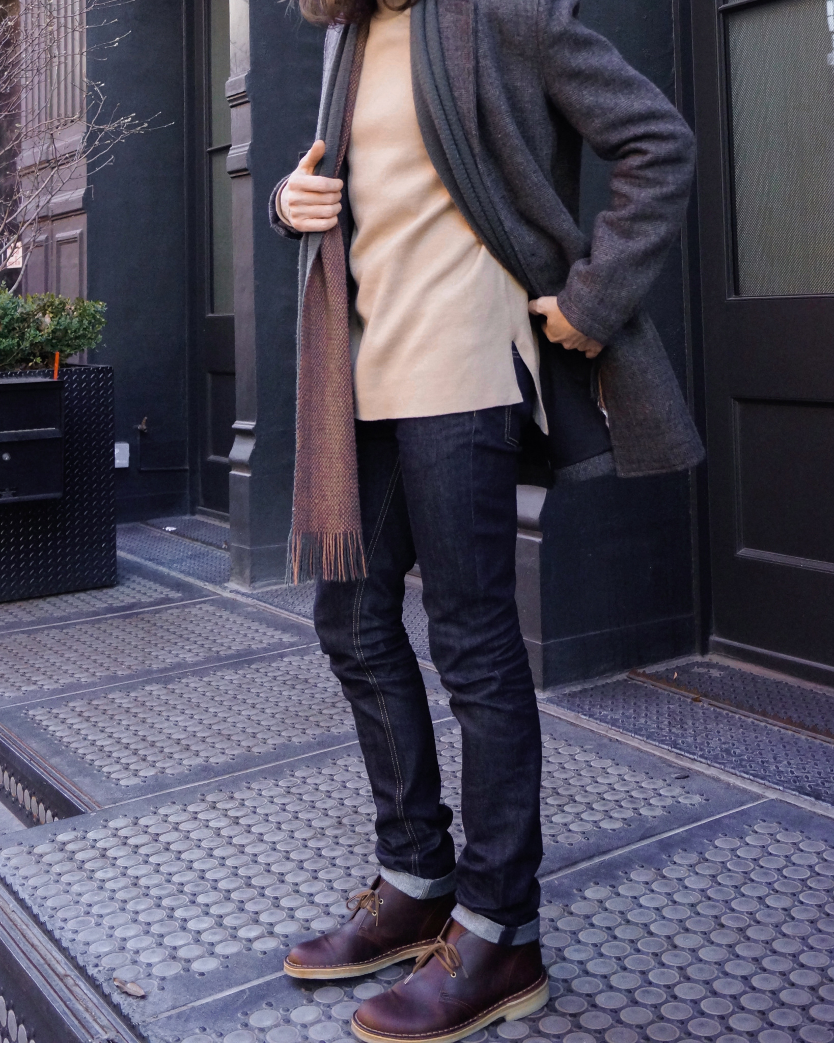 Winter Grays & Nudes - Men's Fashion - Style - Topman Sweater / Topshop - Stone Turtle Neck Split Hem Slim Fit Sweater - Clarks Desert Boot from Clarks Originals Collection - Shoe Shopping - Beeswax & Leather - TheKillerLook.com - The Killer Look