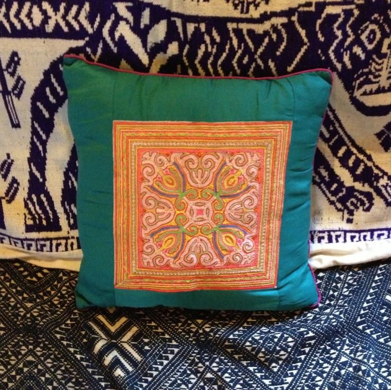 Hmong appliqued pillow, Lauren K. Lancy