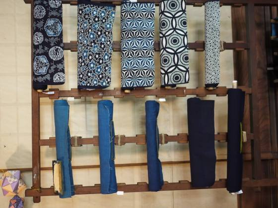 Indigo-dyed textiles and katazome pattern