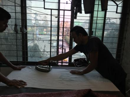 Ironing at Aranya – Handmade Textiles of Bangladesh