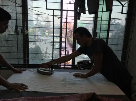 Ironing at Aranya – Handmade Textiles of Bangladesh