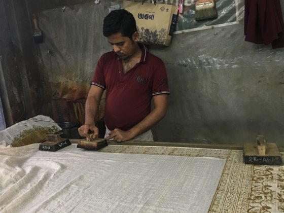 Block printing at Aranya – Handmade Textiles of Bangladesh