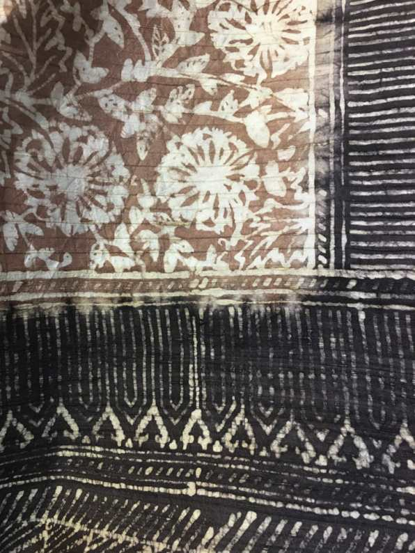 Aranya painted and block printed saree – Handmade Textiles of Bangladesh