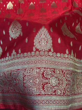 Red and golden Benaroshi saree fabrics – Handmade Textiles of Bangladesh