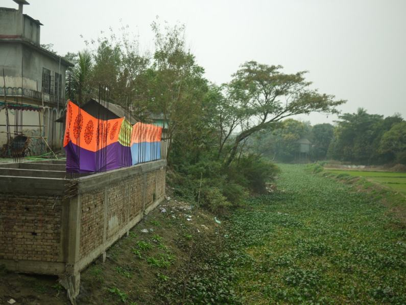 Dyed Fabric Drying in Demra-Narayanganj – Handmade Textiles of Bangladesh