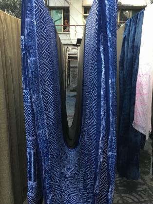 Indigo-dyed cloth drying – Handmade Textiles of Bangladesh