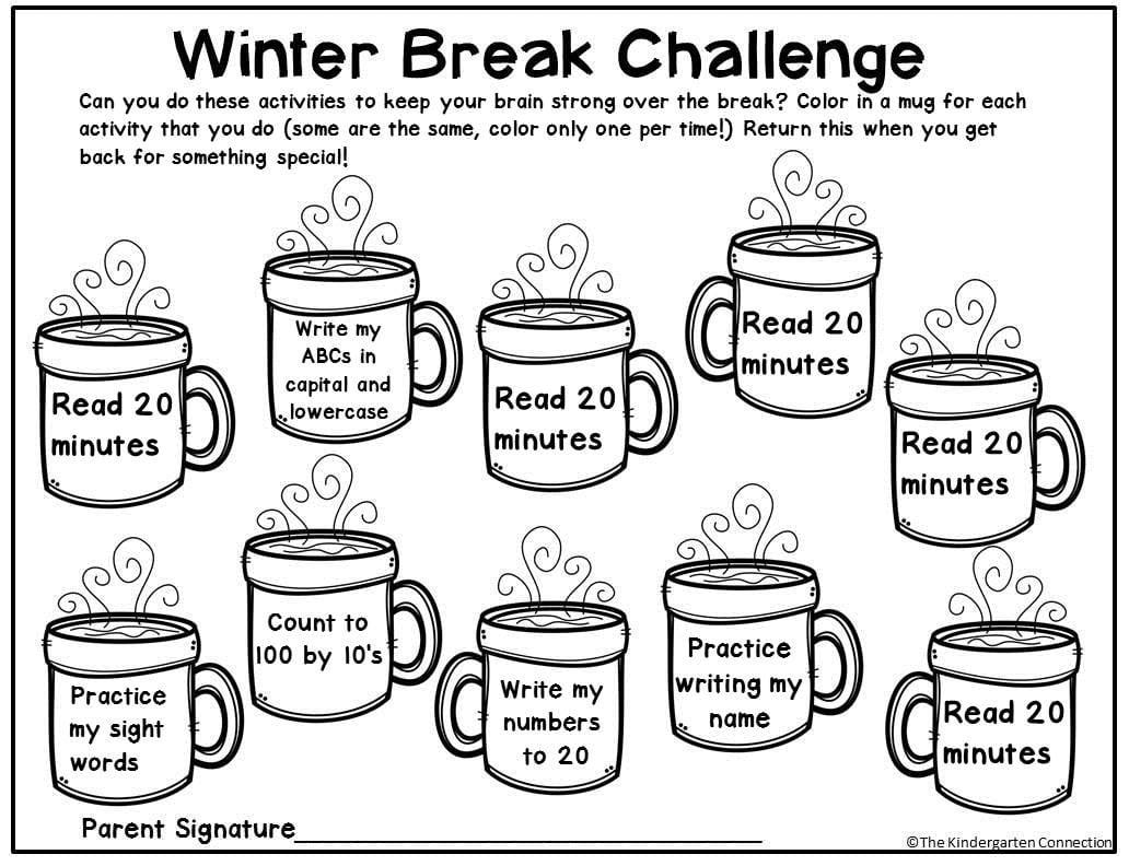 Free Winter Break Homework Editable Printable for Pre-K