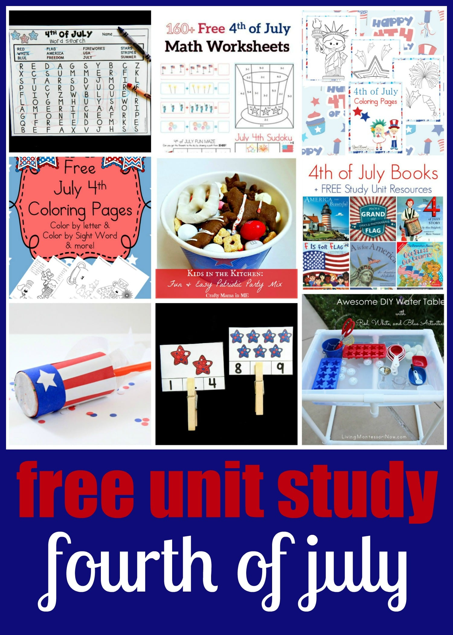 Patriotic Stars Count And Clip Cards