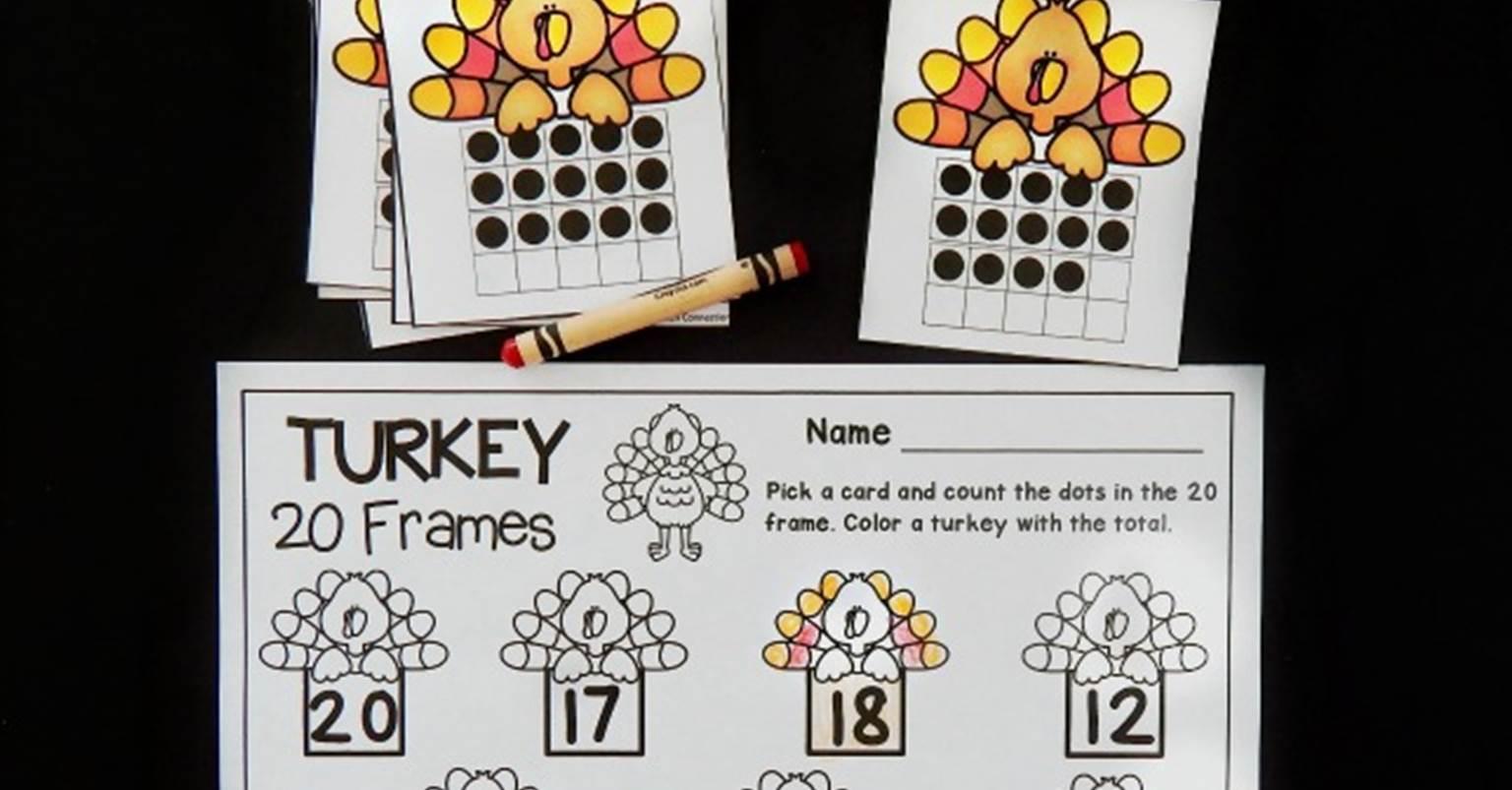 Turkey 20 Frames Math Game