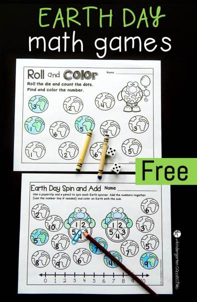 These printable Earth Day math games are great for Pre-K, Kindergarten, and