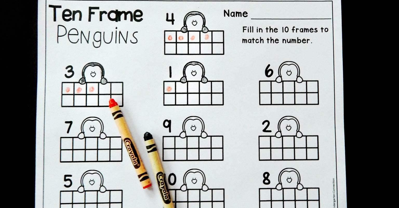 Penguin Ten Frame Counting Worksheet Kindergarten Winter
