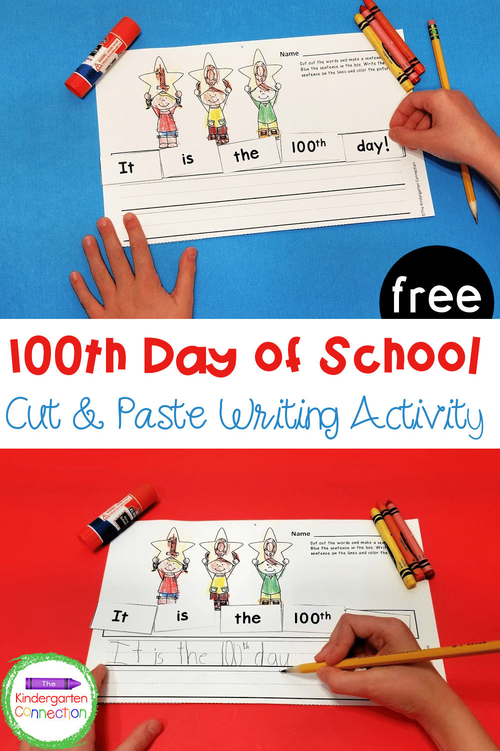 hight resolution of FREE 100th Day of School Cut and Paste Sentence Printable