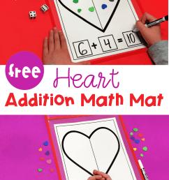 FREE Printable Valentine Heart Addition Math Mat [ 1500 x 1000 Pixel ]
