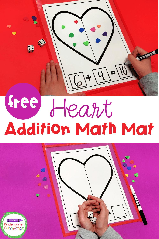 medium resolution of FREE Printable Valentine Heart Addition Math Mat