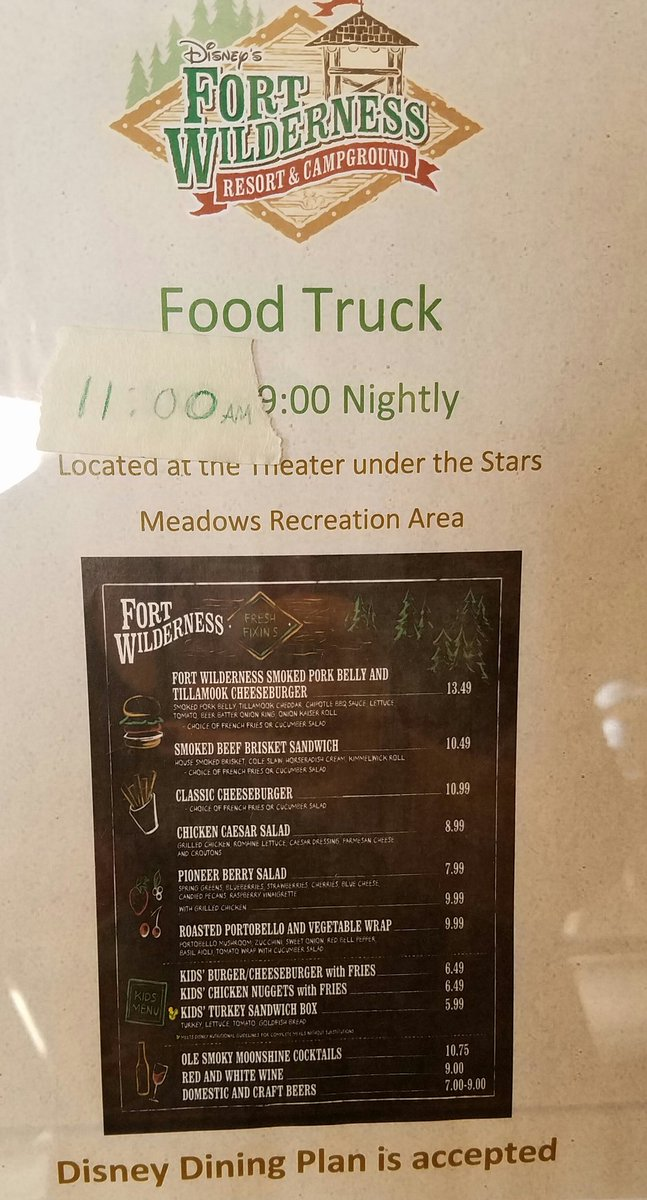 Food Truck in Fort Wilderness Menu | Walt Disney World | Disney Food Blog