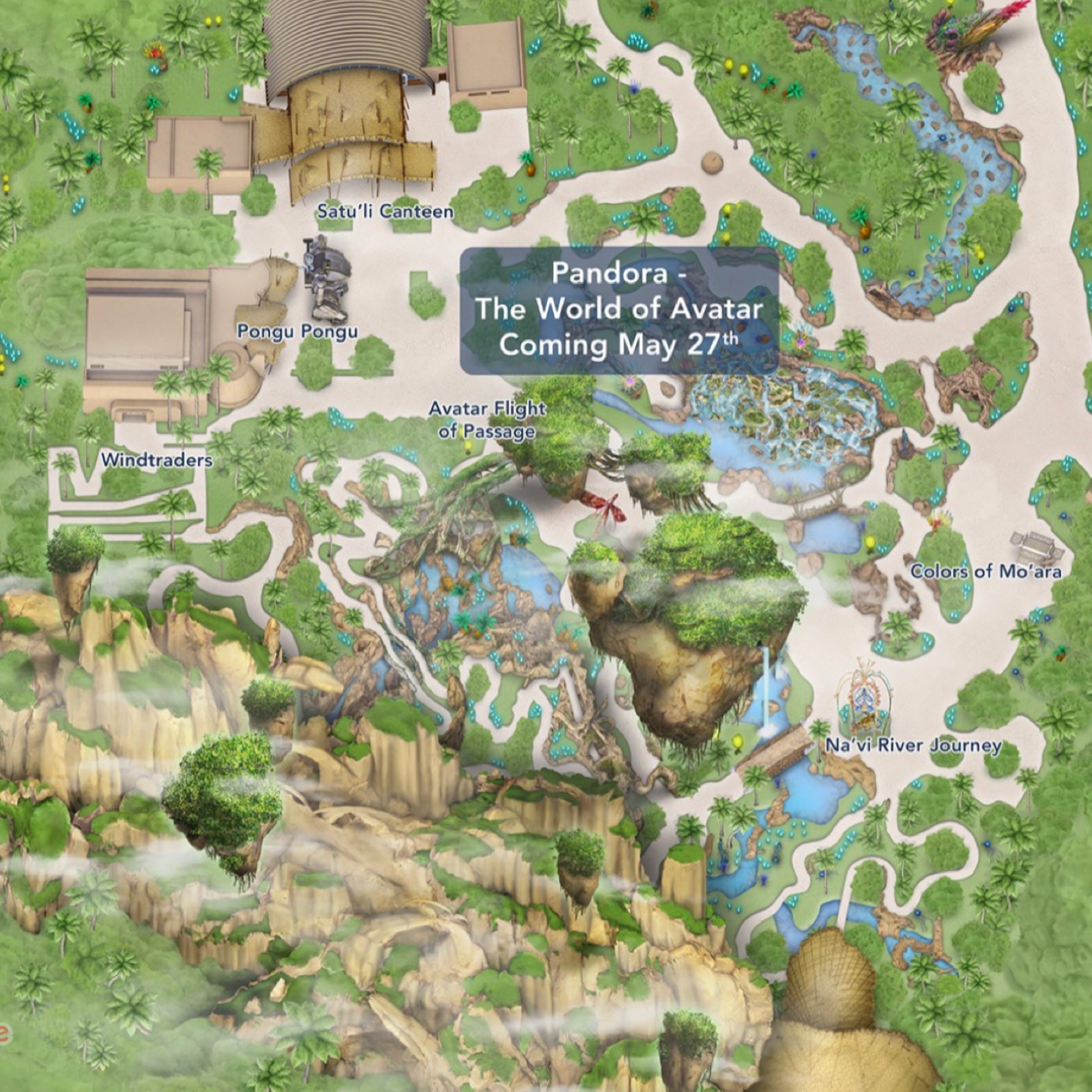 Update disney adds pandora the world of avatar to the my disney with this updated park map we can now see the two walkways into pandora the first walkway is near tiffins restaurant and nomad lounge gumiabroncs Image collections