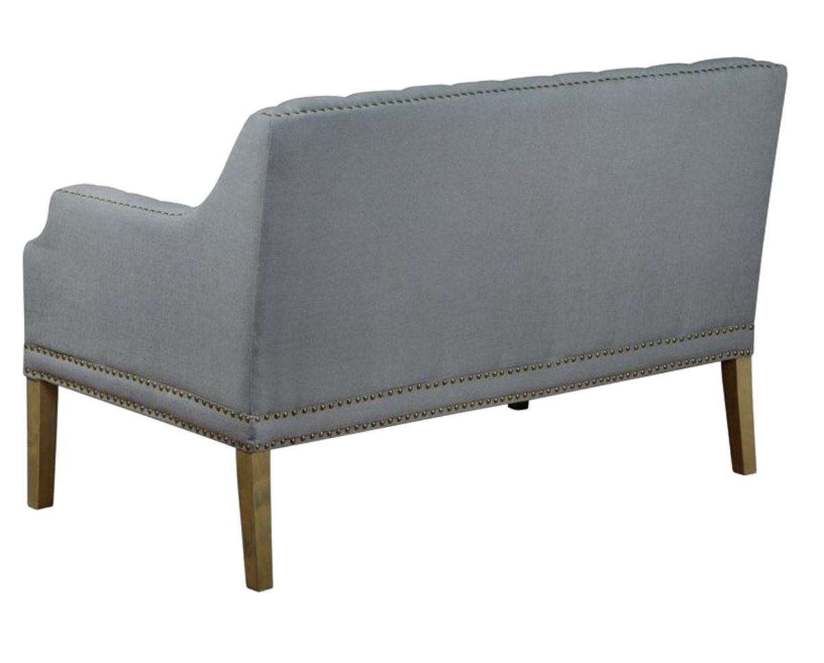 gray linen tufted sofa montero microfiber convert a couch futon sleeper bed fabric settee with nail head trim