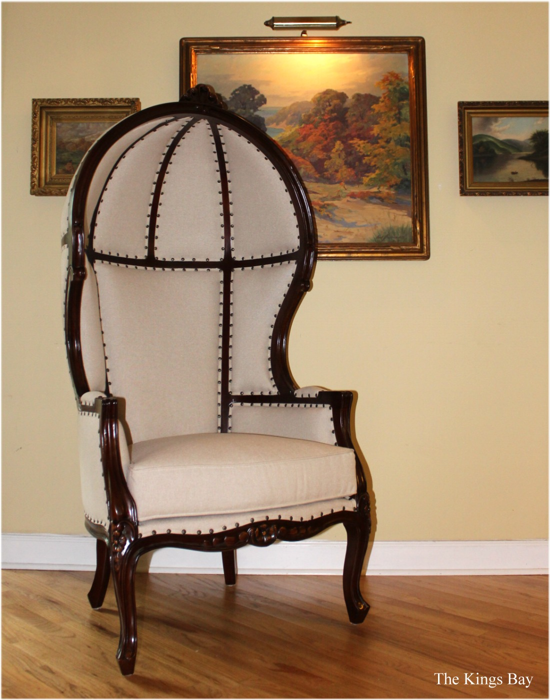 french canopy chair broyhill executive replacement parts antique off white dome porters dark mahogany