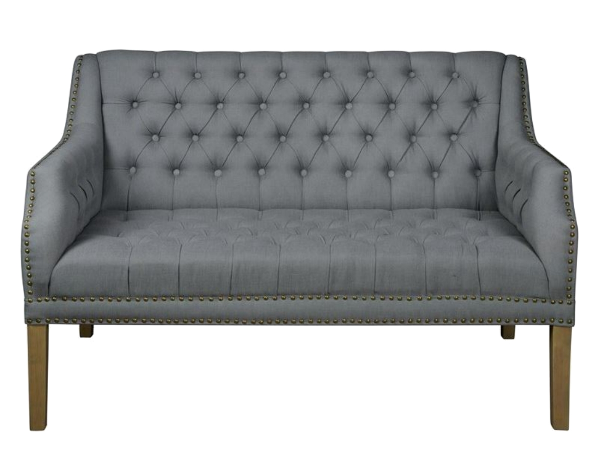 gray linen tufted sofa reclining and loveseat fabric settee couch with nail head trim