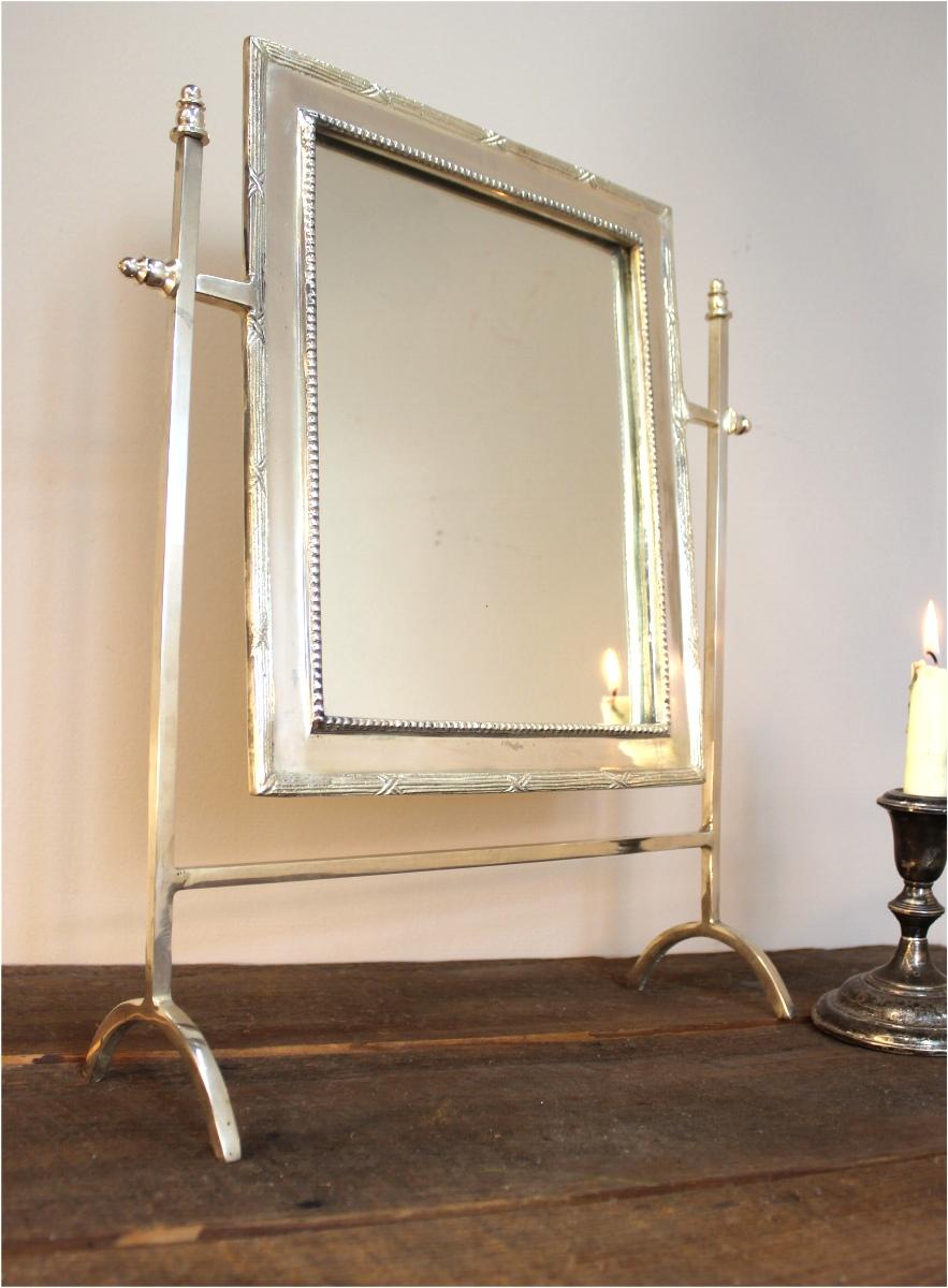 Silver Bedroom Bathroom Mirror Swivel Mount Bamboo Edge