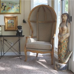 French Canopy Chair Zero Gravity Office Desk Antique Beige Dome Porters W Natural Finish