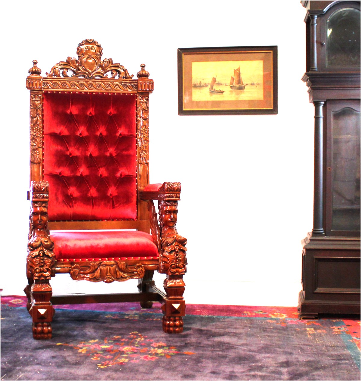 Queen Chairs Giant Winged Angel Throne Arm Chair With Red Velvet Fabric