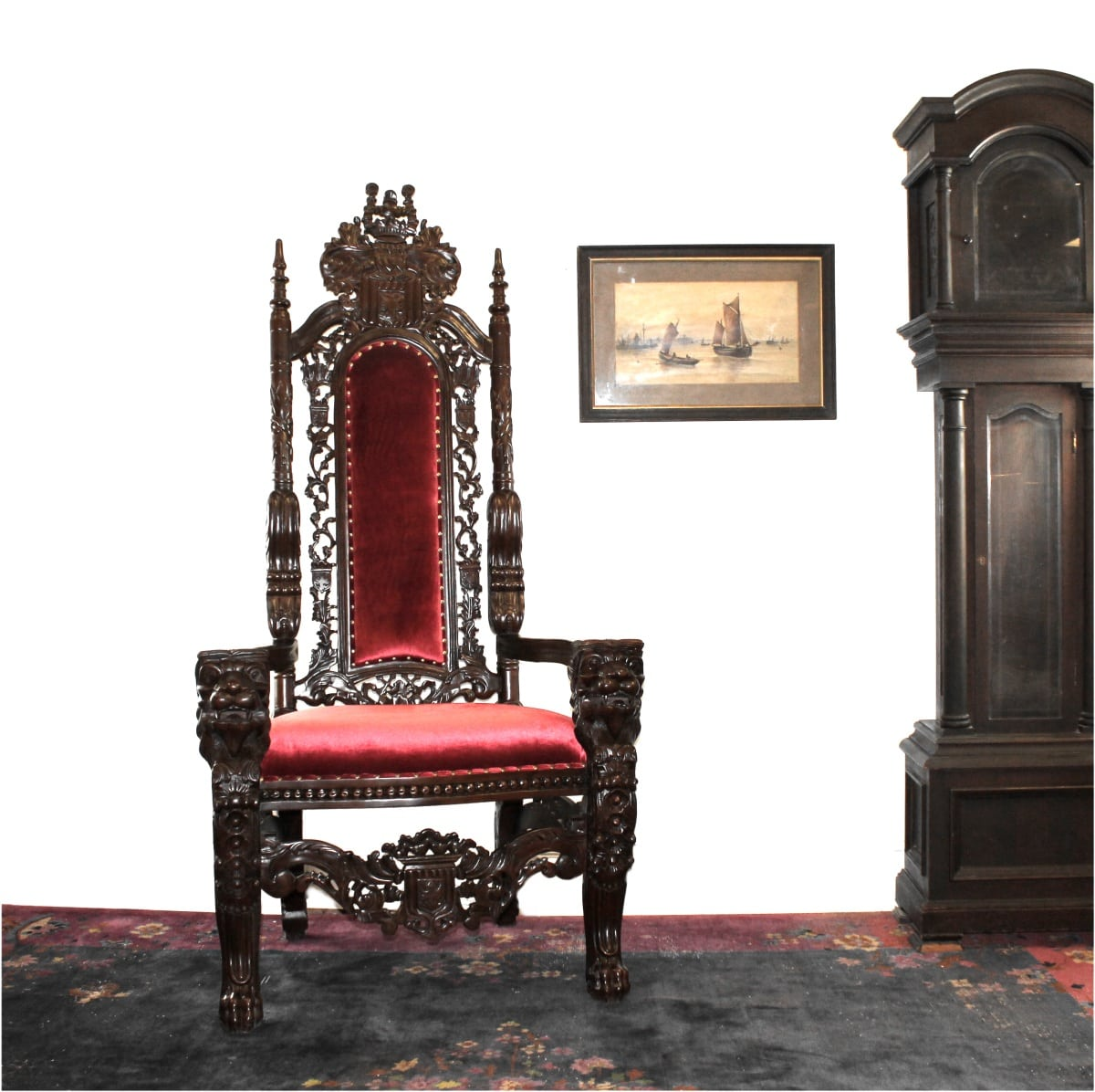 King Chairs Big Mahogany Throne Lion Chair King Queen Prince