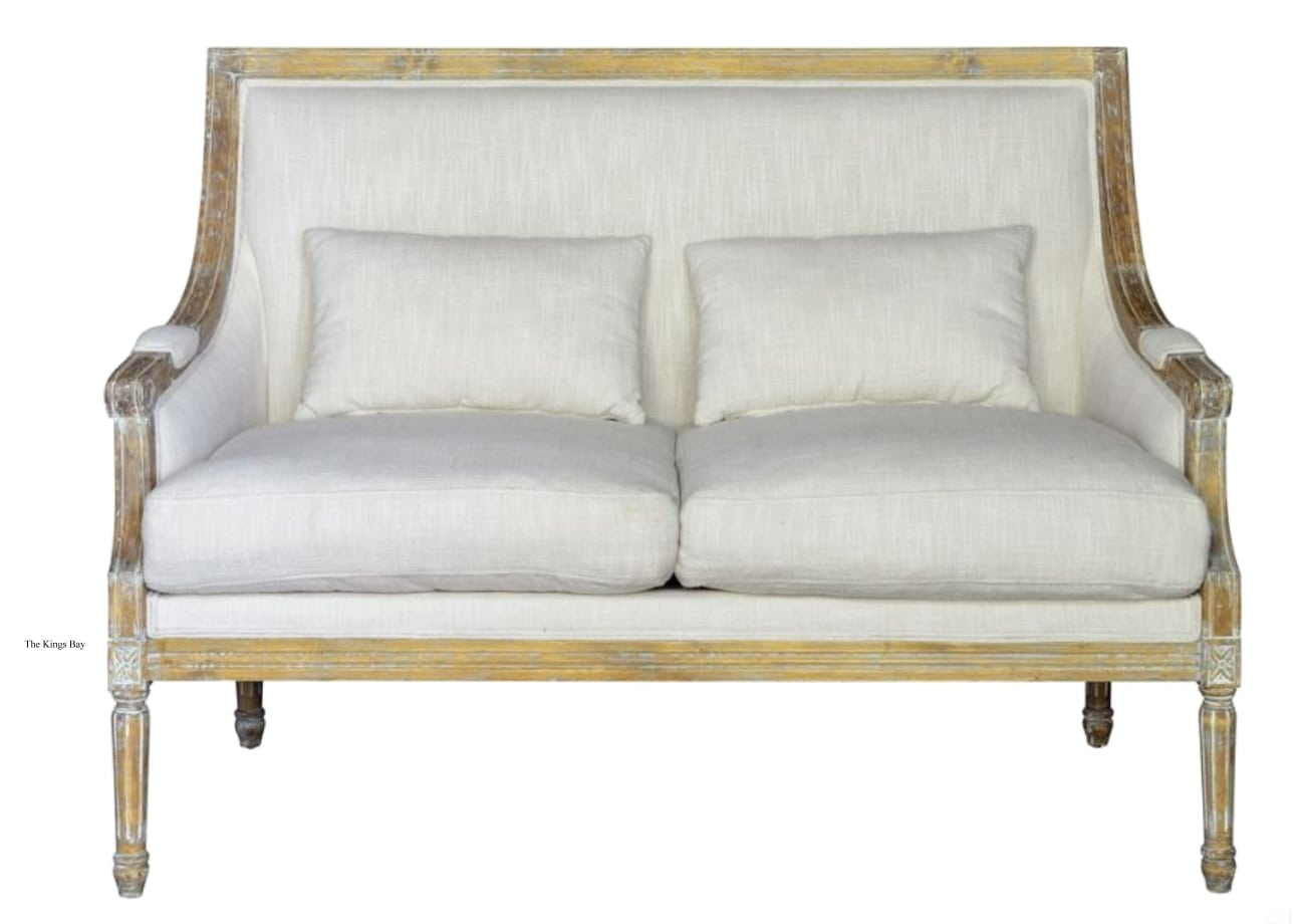 sofa cover cloth rate leather donation value settee couch with linen fabric and aged birch wood