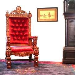 How To Make A Queen Throne Chair Kiddies Covers For Hire Giant Winged Angel Arm With Red Velvet Fabric