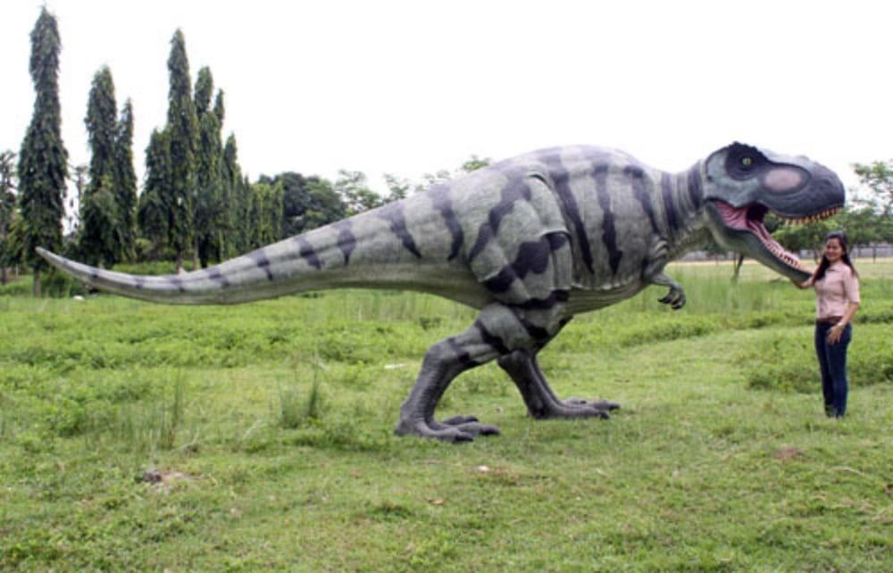 walking t rex sculpture