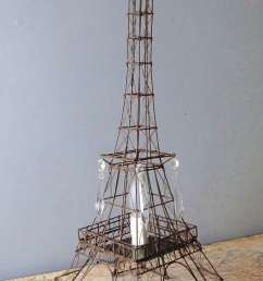 tall eiffel tower night light wire metal lamp sculpture french paris old fashioned [ 700 x 1345 Pixel ]