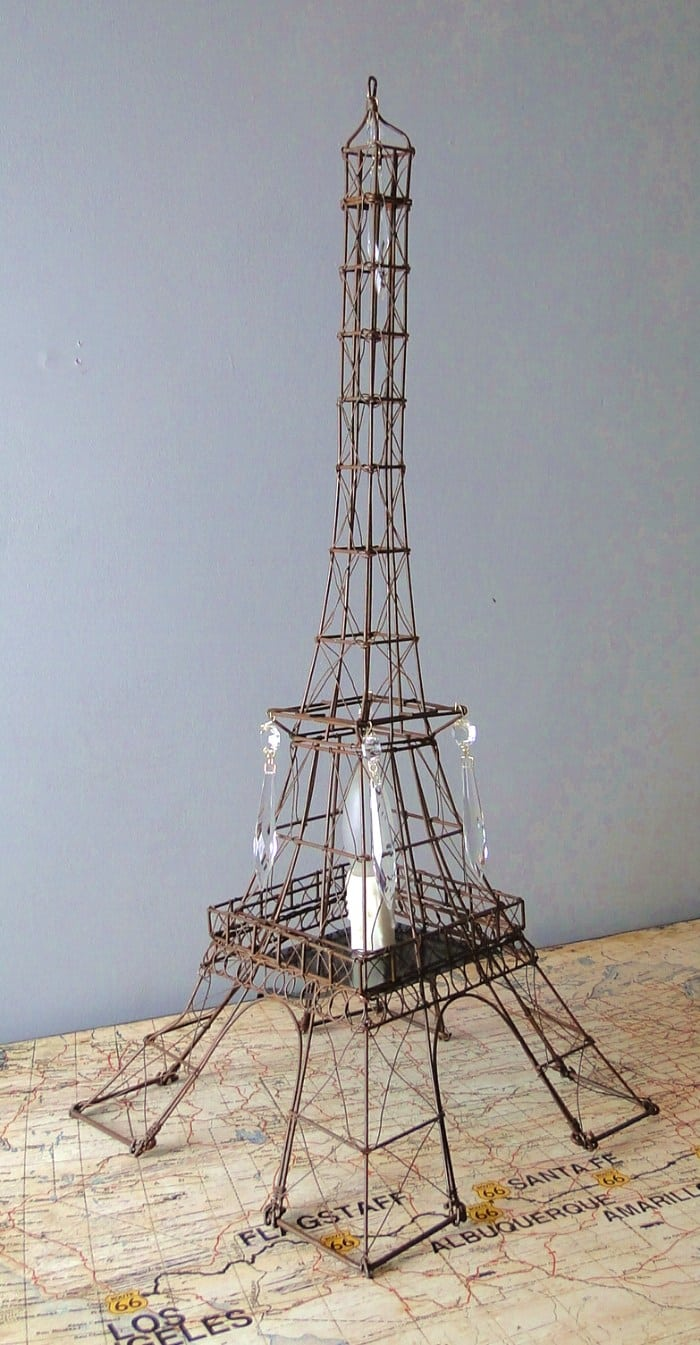 medium resolution of tall eiffel tower night light wire metal lamp sculpture french paris old fashioned
