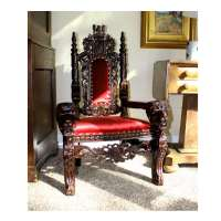 "Child's 36"" Mahogany Lion King Throne Chair Queen Prince ..."