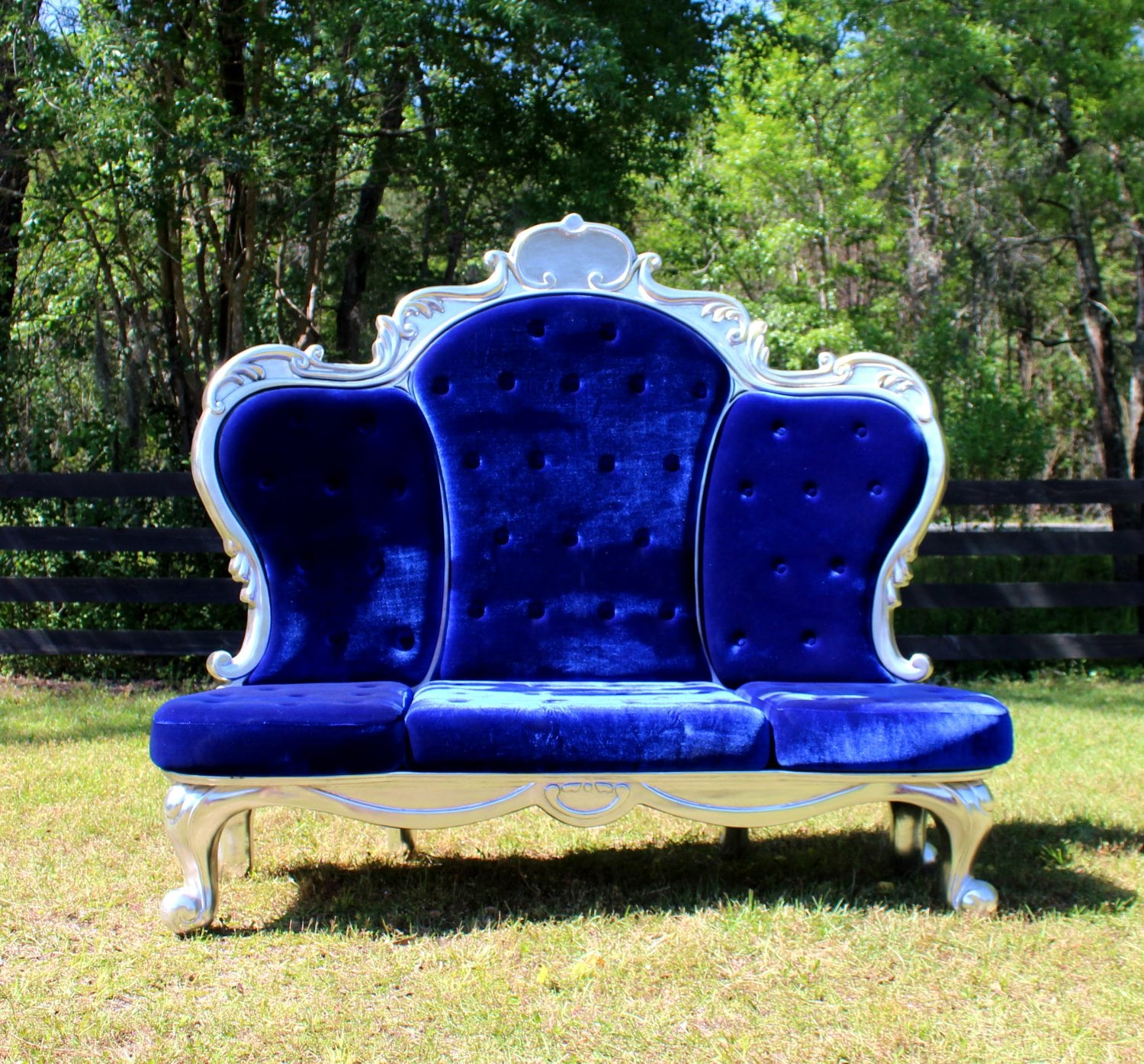 Royal Chair Rental Giant Blue Velvet And Silver Throne Royal Three Seat Chair