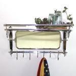 Train Rack With Mirror Luggage Coat Hanger Wall Mounted 7 Hooks Shelf Hall Bath